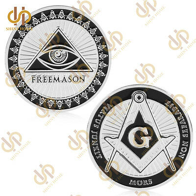 Free and Accepted Masons Silver Plated 1 oz Masonic Symbols Magnificent Coin