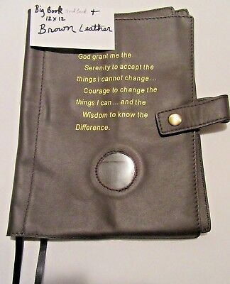 Genuine Leather AA Double Deluxe Alcoholics Anonymous Book Cover Brown coin chip