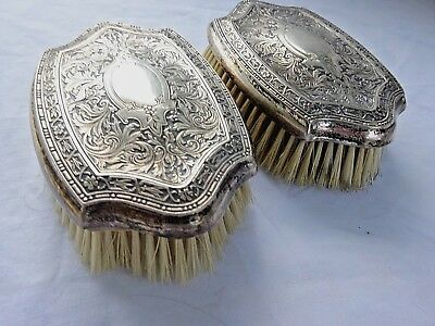 Antique ORNATE Beautiful Chased Engraved Sterling Silver Men's Clothing Brushes
