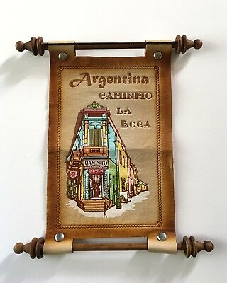 Argentina Caminito La Boca Leather Wall Hanging Scroll Wooden Dowels Souvenir Sm