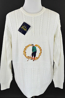 NWT Men Pringle Of Scotland Woodside Golf Sweater Large White Sweater 100% Coton