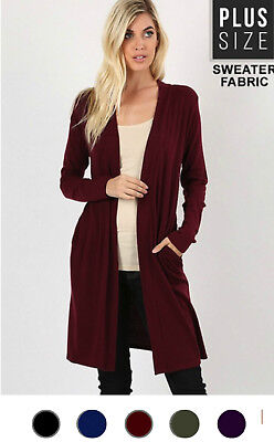 NEW Plus Size Open Front Long Duster Cardigan Sweater w/Side Pockets-XL/1X-2X-3X