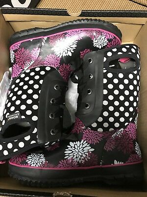 Bogs Boots Classic waterproof black flowers Insulated to -30 Girls Kids Size 6