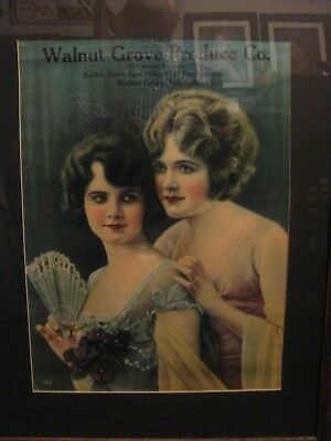 Antique Beautiful Girls Framed Advertising Sign Walnut Grove,mo Produce Co.,furs