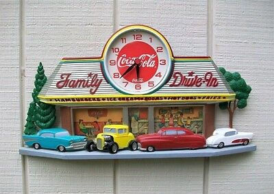 Vintage Coca Cola 3D Wall Clock 1950's Family Drive In Diner