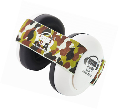 Em's 4 Bubs Hearing Protection Baby Earmuffs Size 0-18 Months (White with Camo H