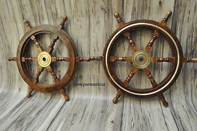 "Lot Of 2 24"" Wooden Wall Boat Wood Brass Nautical Ship Steering Wheel VCF668"