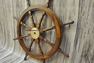 "36""Nautical Wooden Ship Steering Wheel Pirate Decor Wood Brass Fishing VCF669"