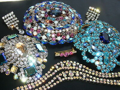 Huge Vintage Exlusive Antique  Rhinestones Lot Of Jewerly Mix Glass  D14