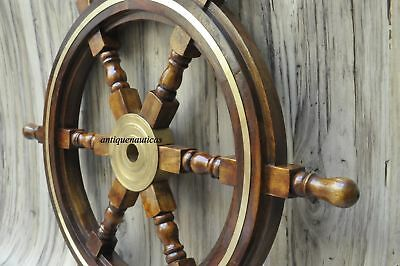 "Wooden 24""Nautical Ship Steering Wheel Pirate Decor Wood Brass Fishing VCF670"