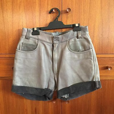 Grey Vintage High Waisted Leather Shorts Small