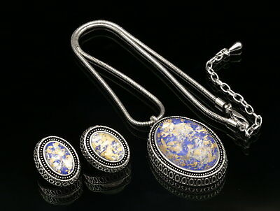 particular gold foil blue lucite oval pendant silver plate necklace earrings N81