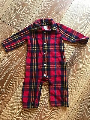 Baby Boden Christmas Check Tartan Flannel All-In-One  9-12 months Worn Once