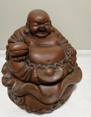 Collection or home decoration Vintage Chinese Zisha clay smile Buddha marked