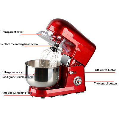 1x Multifunctional Stand Mixer 5L Food Mixer 220V 50Hz 1200W 5L stainless steel