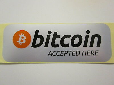 """1 X Waterproof High Quality """"Bitcoin Accepted Here"""" Sticker Shop Decals - BTC"""