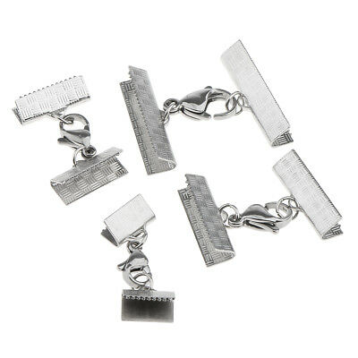 4pcs Stainless Steel Ribbon End Clamp Crimps with Lobster Clasp 10-25mm