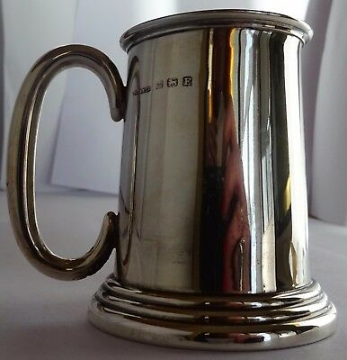 Lovely solid sterling silver christening mug tankard, 'J.J'. 1930