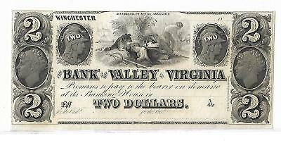 $2 BANK OF THE VALLEY IN VIRGINIA - WINCHESTER 1800's