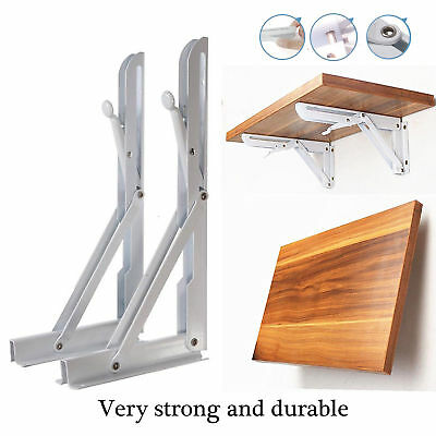 UK Wall Mounted Metal Fold Display Storage Holder Shelf Bracket Unit White