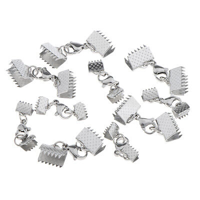 10 Sets Fold Over Crimp Ends Ribbon Ends Lobster Clasps Jewelry Findings