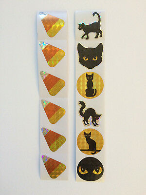Halloween Holographic Stickers Kids Craft Kit Activity Black Cat Candy Corn