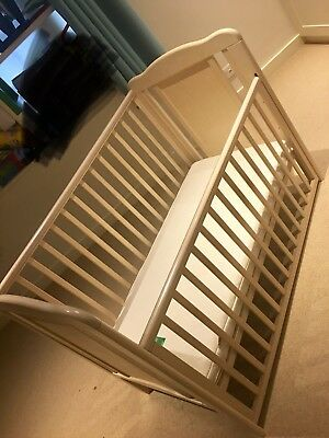 Johnlewis dropside cot in cream with teething rail + clevamama memory form