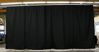 Black Stage Curtain/Backdrop 10 H x 20 W (Non-FR) with 20 feet of Curtain Track