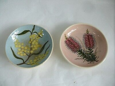 2 Australian Pottery Bowls Martin Boyd Wattle Guy Boyd Hilda Ilich Bottle Brush