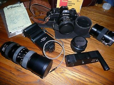 WORKING Nikon 35mm SLR Film student Camera with several lens retro