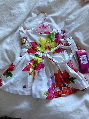 Ted Baker Baby Girls Floral White Dress with headband 0-3 Months