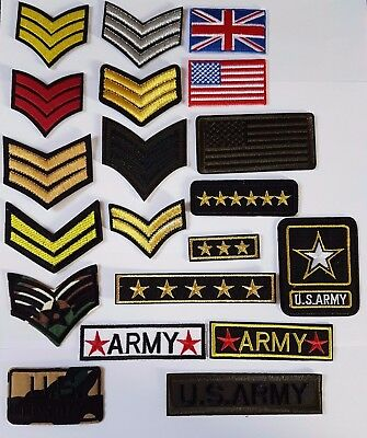Military Ranks style Embroidered Iron On Sew On Patches Badges Transfers