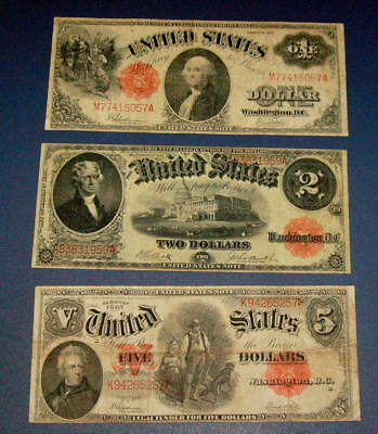 3 Nice 1907 Five $5 WOODCHOPPER 1917 Washington $1 One & Jefferson $2 Two Note