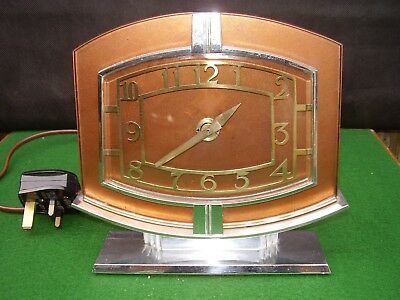 Vintage Art Deco Chrome & Glass Electric Mantle Clock Good Working order