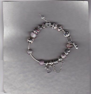 Pandora Hall Marked Silver Charm Bracelet In A Nice Condition