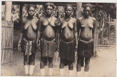 "Rp Girls Of ""mombessa""  Tribe Belgium Congo ,ethnic Africa Real Photo C 1930"