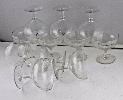 Compote Footed Optical Teardrop Thumbprint Clear Glass 9pcs Footed VTG