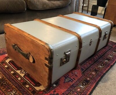 Antique VTG painted bent wood STEAMER TRUNK large OTTOMAN box CHEST coffee table