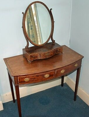 18th Century bow fronted mahogany dressing table and mirror