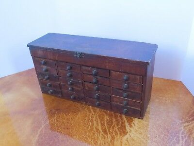 c 1910 Antique Vintage Wooden 20 Drawer Tool, Jewelry, Watchmaker's Parts Chest