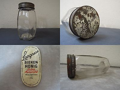 seltenes kleines Langnese Honig Glas 40er,50er 6 Kanten,alt,old honey glass 50th