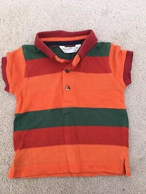 M & Co Baby Polo Shirt - Orange / Green Striped - 6-9m - Great item!