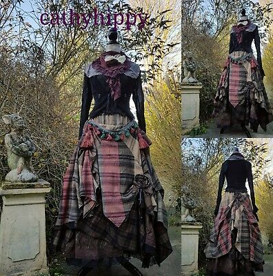 Quirky Bustle Skirt & Hitch Clips Freesize 6-18 Steampunk Pirate Lagenlook Gypsy