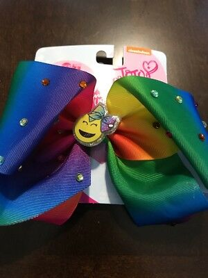 JOJO Siwa Signature  Large Rainbow Tie Dye Rhinestone With Smiley Hair Bow New