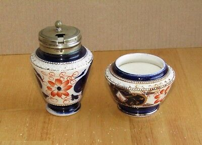 2 x small Vintage Imari Ink Pots or Mustard Pots one with EPNS Lid; Derby style
