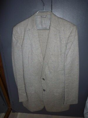 "Vintage 1940's ""Penney's"" cool off white flecked wool suit Size 40 pants 30"