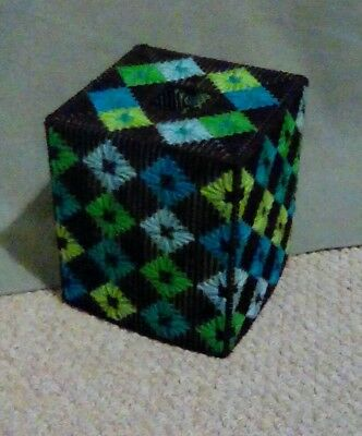 Handmade patterned  plastic canvas tissue box cover.