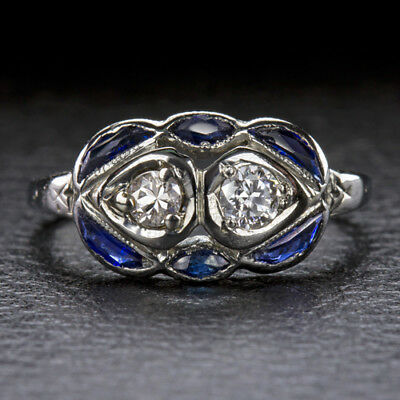 VINTAGE 20K WHITE GOLD OLD CUT DIAMOND SAPPHIRE DOUBLE RING ANTIQUE COCKTAIL 20s