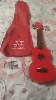 Red Star Ukulele And Case Stringed Instrument *excellent condition*