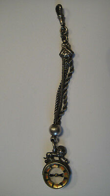 Antique Victorian Silver Lion Compass Pocket Watch Chain Fob 1900